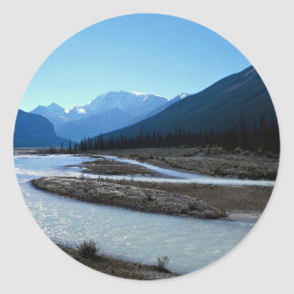 Athabasca River, Icefield Parkway, Alberta, Canada Round Stickers
