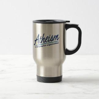Atheism a non-prophet organization travel mug