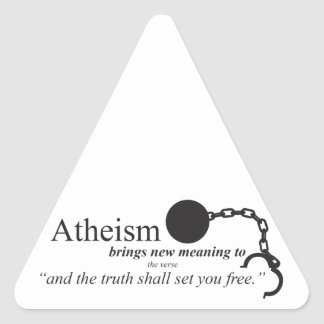 Atheism brings new meaning triangle sticker