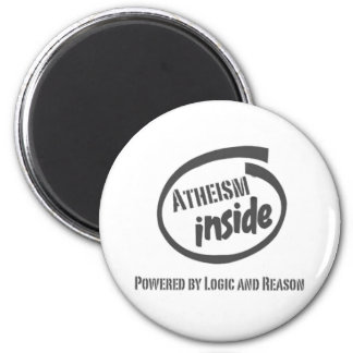 Atheism Inside Powred by logic and reason 2 Inch Round Magnet