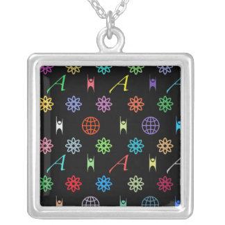 Atheism Monogram (bright on black) Necklaces