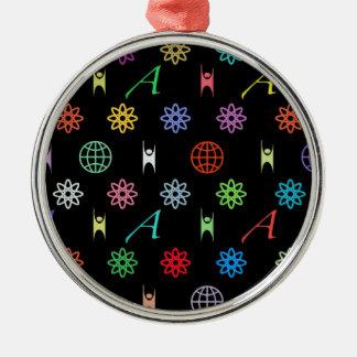Atheism Monogram Round Metal Christmas Ornament