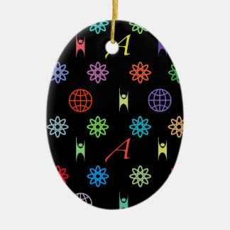 Atheism Monogram Double-Sided Oval Ceramic Christmas Ornament