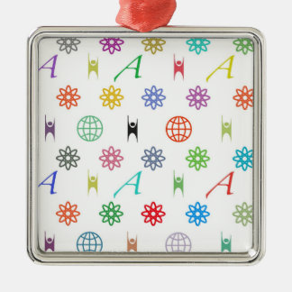 Atheism Monogram White Square Metal Christmas Ornament