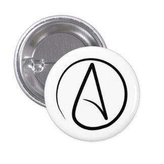 Atheism symbol: black on white pinback button