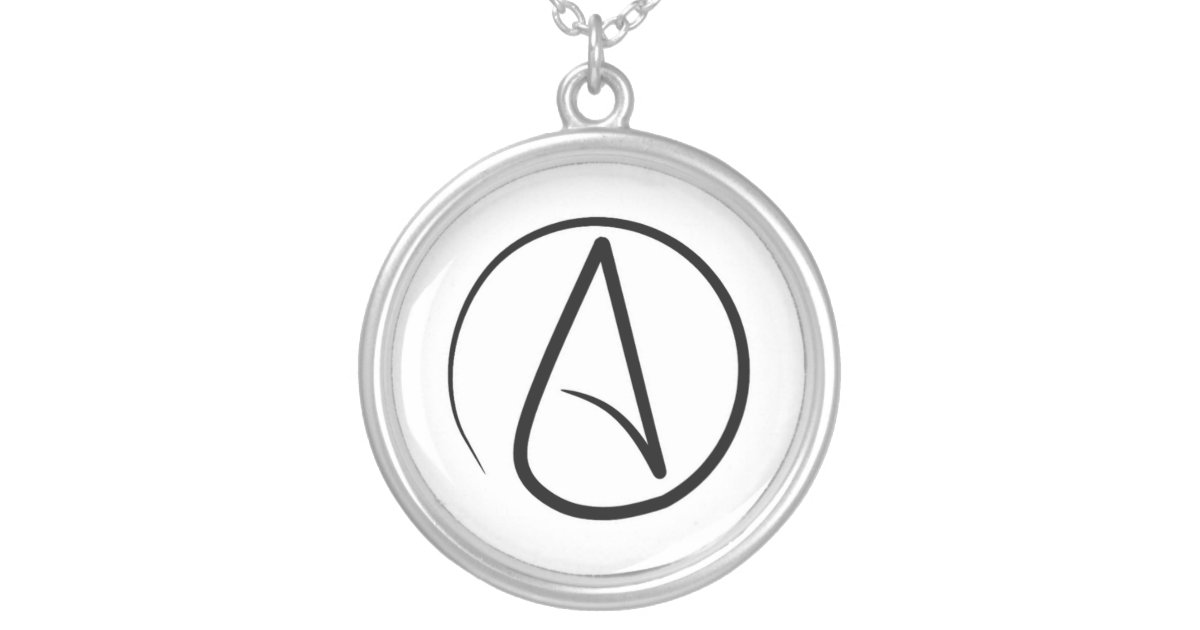 Atheism Symbol Black On White Silver Plated Necklace Zazzle
