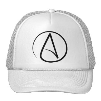 Atheism symbol: black on white trucker hat