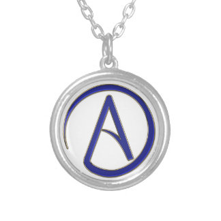Atheism symbol silver plated necklace