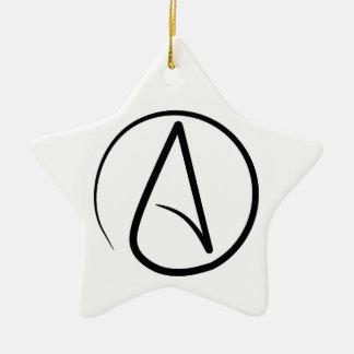 Atheist A Black on White Star Ornament
