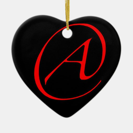 Atheist A Red on Black Ornament