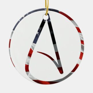 Atheist American Double-Sided Ceramic Round Christmas Ornament