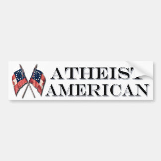 Atheist American With Vintage Flags Bumper Sticker