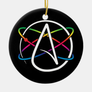 Atheist Atom Rainbow Ceramic Ornament