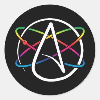 Atheist Atom Rainbow Classic Round Sticker