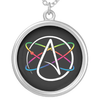 Atheist Atom Rainbow Silver Plated Necklace