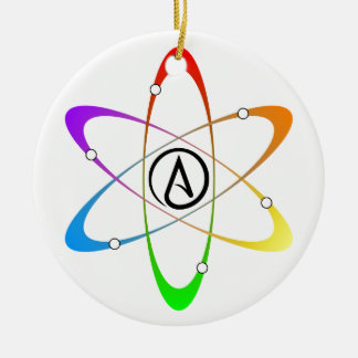 Atheist Atom Symbol Double-Sided Ceramic Round Christmas Ornament
