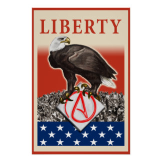 Atheist Eagle Liberty Poster, red border