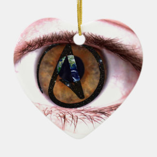 Atheist Eye Double-Sided Heart Ceramic Christmas Ornament