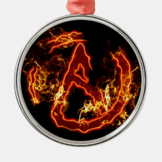 Atheist Fire Symbol Metal Ornament