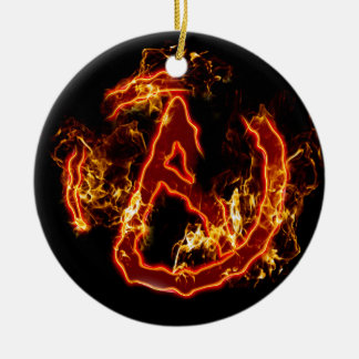 Atheist Fire Symbol Double-Sided Ceramic Round Christmas Ornament