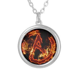 Atheist Fire Symbol Round Pendant Necklace
