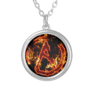 Atheist Fire Symbol Silver Plated Necklace