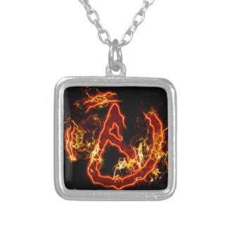 Atheist Fire Symbol Square Pendant Necklace