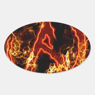 Atheist Fire Symbol Oval Sticker