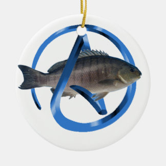 Atheist Fish Double-Sided Ceramic Round Christmas Ornament