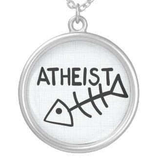 Atheist Fish Round Pendant Necklace