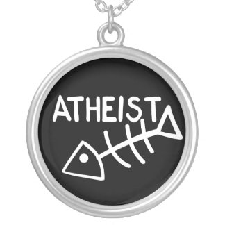 Atheist Fish Silver Plated Necklace