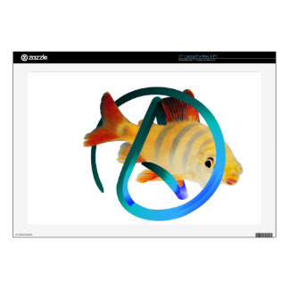 "Atheist Fish Decals For 17"" Laptops"