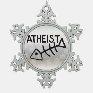 Atheist Fish Snowflake Pewter Christmas Ornament