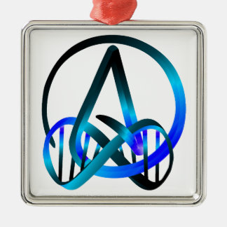 Atheist Forever Blue Square Metal Christmas Ornament