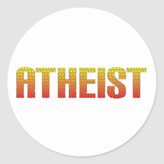 Atheist, hell wire fence style. classic round sticker