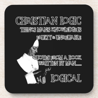Atheist humour beverage coaster