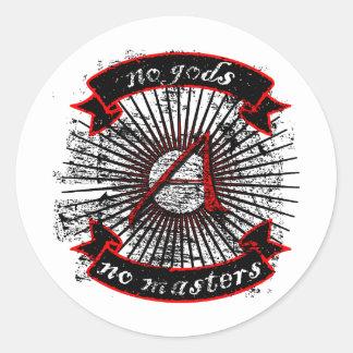 Atheist No Gods, No Masters Classic Round Sticker