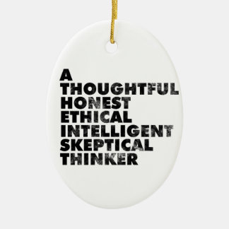 Atheist! Double-Sided Oval Ceramic Christmas Ornament