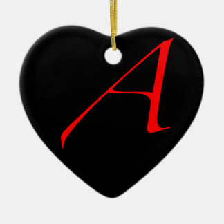 Atheist Simple A Red on Black Heart Ornament