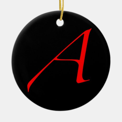 Atheist Simple A Red on Black Ornament