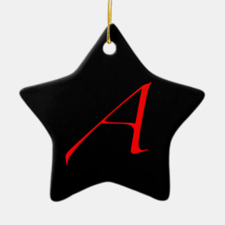Atheist Simple A Red on Black Star Ornament