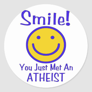 Atheist Smiley Classic Round Sticker