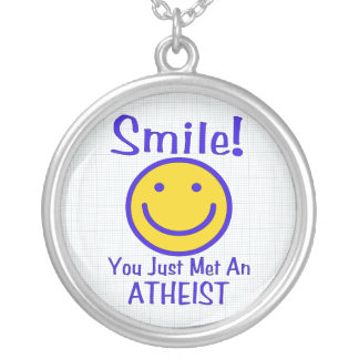 Atheist Smiley Silver Plated Necklace