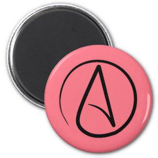 Atheist symbol: black on coral magnet