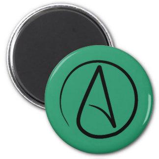 Atheist symbol: black on green magnet
