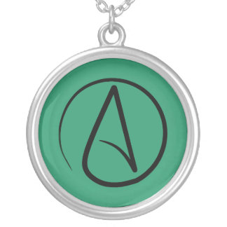 Atheist symbol: black on green silver plated necklace
