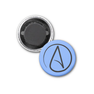 Atheist symbol: black on light blue magnet