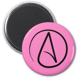 Atheist symbol: black on light pink magnet
