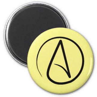 Atheist symbol: black on light yellow magnet
