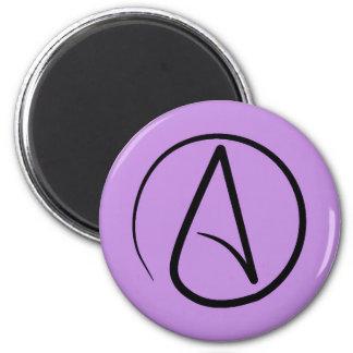 Atheist symbol: black on lilac magnet